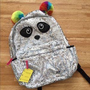 Reversible sequin panda backpack silver NWT